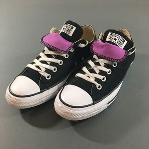 Converse Womens Black Low Top Sneakers, Size 10